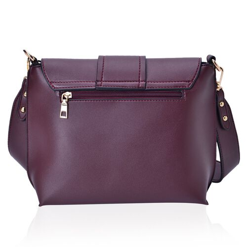 Burgundy Colour Crossbody Bag with Removable Shoulder Strap (Size 24.5X21X8 Cm)