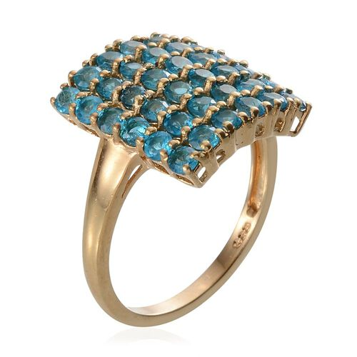 Malgache Neon Apatite (Rnd) Cluster Ring in Yellow Gold Overlay Sterling Silver 2.500 Ct.
