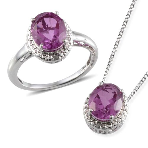 Kunzite Colour Quartz (Ovl), Diamond Ring and Pendant with Chain in Platinum Overlay Sterling Silver 5.440 Ct.