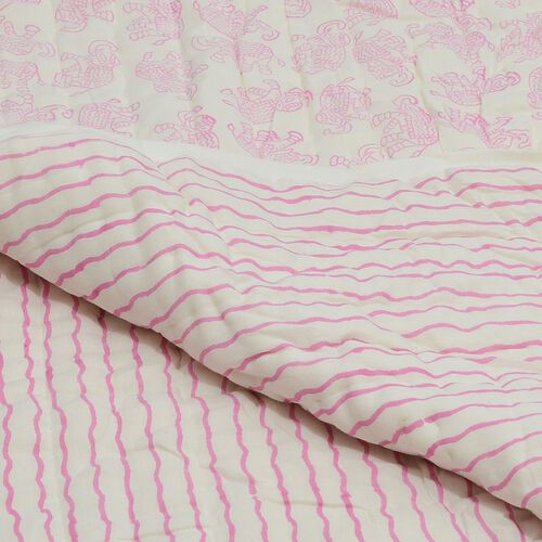 100% Cotton Hand Block Printed Pink Colour Elephant and Stripe Printed White Colour Quillow (Size 220x140 Cm)