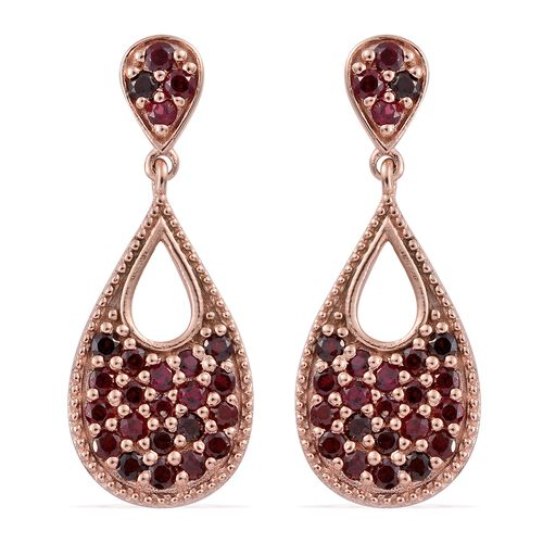 Arizona Anthill Garnet (Rnd) Drop Earrings (with Push Back) in Rose Gold Overlay Sterling Silver 1.450 Ct.