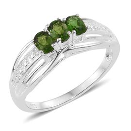 Russian Diopside (Ovl) Trilogy Ring in Sterling Silver 0.500 Ct.