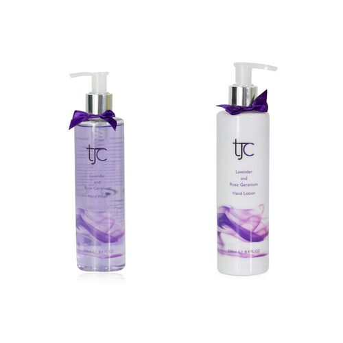 TJC Lavender and Rose Geranium Hand Wash pump 250ml with Moisturising Hand Lotion 250ml