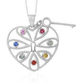 Rainbow Sapphire (Rnd) Love Lock Pendant with Chain in Rhodium Plated Sterling Silver. Silver wt 6.00 Gms.