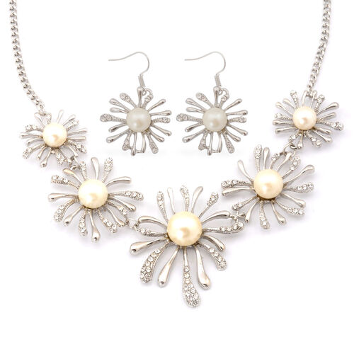 White Austrian Crystal and Simulated Stone Necklace (Size 20) and Hook Earrings in Silver Tone