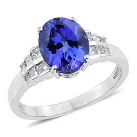 Collectors Edition- ILIANA 18K W Gold AAAA Vivid Intense Tanzanite (Ovl), Diamond (Princess Cut SI/G-H) 0.50 Carat Ring 4.000 Ct. Gold Wt 5.65 Grams