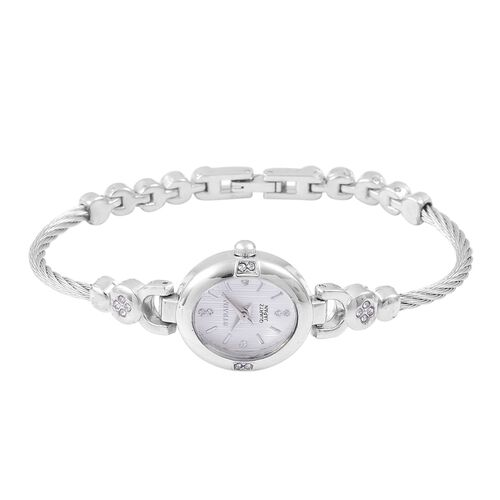 STRADA Japanese Movement White Dial with White Austrian Crystal Watch in Silver Tone with Rope and Bead Link Strap