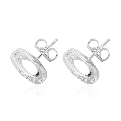 RACHEL GALLEY Rhodium Plated Sterling Silver Memento Diamond Stud Earrings (with Push Back), Silver wt 7.17 Gms.