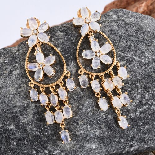 Sri Lankan Rainbow Moonstone (Ovl), Natural Cambodian Zircon Floral Inspired Earrings (with Push Back) in 14K Gold Overlay Sterling Silver 11.500 Ct. Silver wt 7.70 Gms.