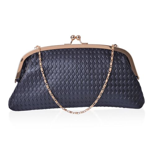 Diamond Pattern Black Colour Clutch (Size 27x13.5 Cm)