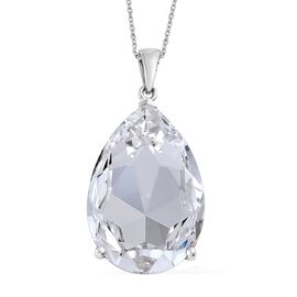 Limited Edition- One Time Deal J Francis Crystal from Swarovski - Ice Colour Crystal (Pear) Pendant with Chain in Platinum Overlay Sterling Silver. Silver Wt 12.73 Gms