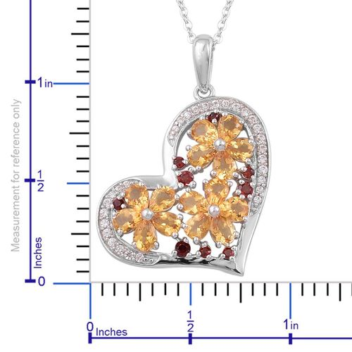Citrine (Pear), Mozambique Garnet and White Zircon Heart Pendant With Chain in Platinum and 14K Gold Overlay Sterling Silver 2.750 Ct.