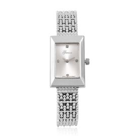 Designer Inspired- Diamond Studded GENOA Japanese Movement Bracelet Watch in Silver Tone