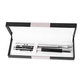 Set of 2 - Black and Silver Colour Black Ink Pen with LED Flash Light in a Box