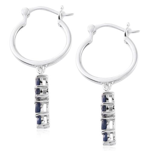 Kanchanaburi Blue Sapphire 2.50 Ct Silver Cross Earrings  in Platinum Overlay (with Clasp Lock)