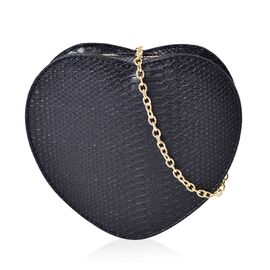 Dazzling Black Heart Crossbody Bag with Gold Chain (Size 18x16x6.5 Cm)