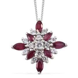 African Ruby (Mrq), White Topaz Pendant with Chain in Platinum Overlay Sterling Silver 1.750 Ct.