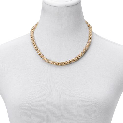 AAA White Austrian Crystal Necklace (Size 18 with 3 inch Extender) in Yellow Gold Tone