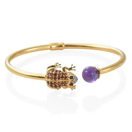 GP Amethyst, Mozambique Garnet, Boi Ploi Black Spinel and Multi Gemstone Frog Bangle (Size 6.5) in 14K Gold Overlay Sterling Silver 4.250 Ct. Silver wt 8.83 Gms.