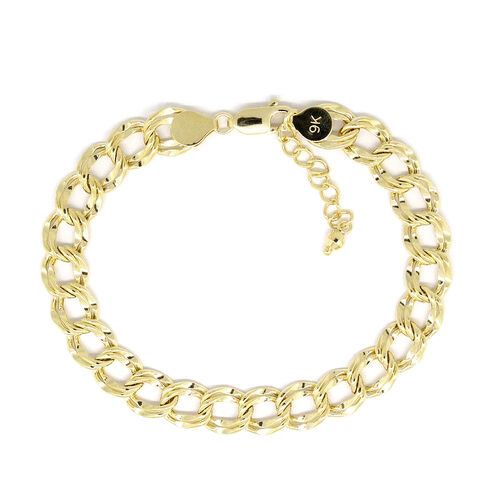 Italian Close Out Deal - 9K Yellow Gold Double Curb Bracelet (Size 7 with 1 inch Extender), Gold wt 5.02 Gms.