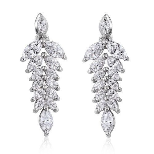 J Francis - Platinum Overlay Sterling Silver (Mrq) Earrings (with Push Back) Made with SWAROVSKI ZIRCONIA