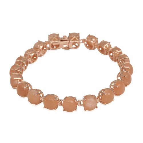 Morogoro Peach Sunstone (Rnd) Bracelet (Size 7.5) in Rose Gold Overlay Sterling Silver 24.000 Ct.