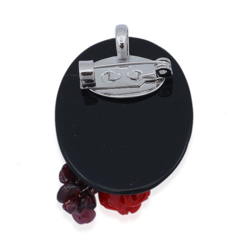 Indian Garnet and Black Obsedian Brooch or Pendant With Stainless Steel Chain in Silver Tone with Resin