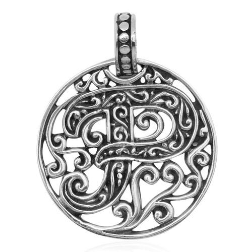 Royal Bali Collection Sterling Silver Initial P Pendant, Silver wt 3.71 Gms.