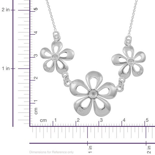 Thai Sterling Silver Triple Floral Necklace (Size 18), Silver wt 6.00 Gms.