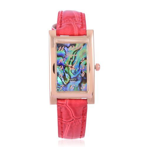 GENOA Japanese Movement Abalone Shell Dial Water Resistant Watch in Rose Gold Tone with Stainless Steel Back and Red Colour Strap