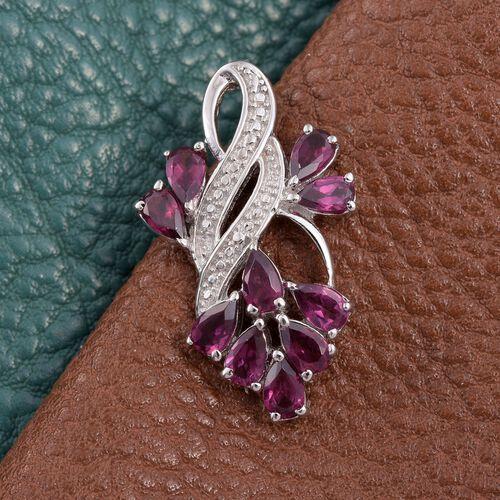 Rhodolite Garnet (Pear) Pendant in ION Plated Platinum Bond 2.500 Ct.