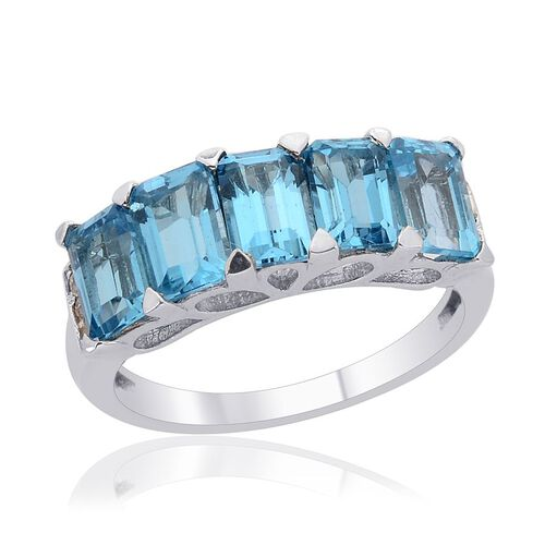 Electric Swiss Blue Topaz (Oct), Diamond Ring in Platinum Overlay Sterling Silver 3.270 Ct.