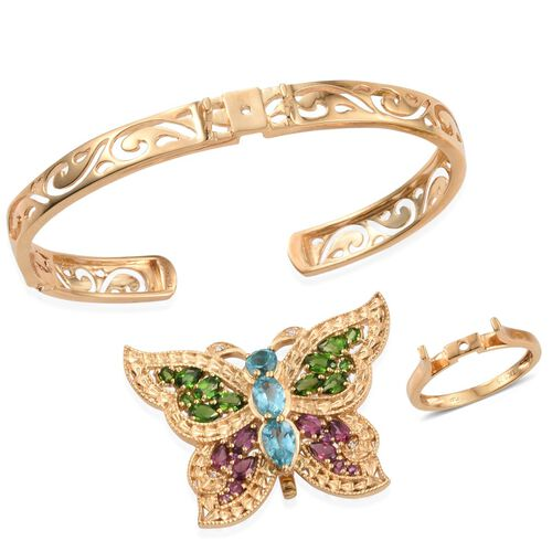 GP Paraibe Apatite (Pear 1.00 Ct), Russian Diopside, Rhodolite Garnet and Multi Gemstone Interchangeable Butterfly Bracelet (Size 7.5), Ring and Pendant in 14K Gold Overlay Sterling Silver 6.500 Ct.
