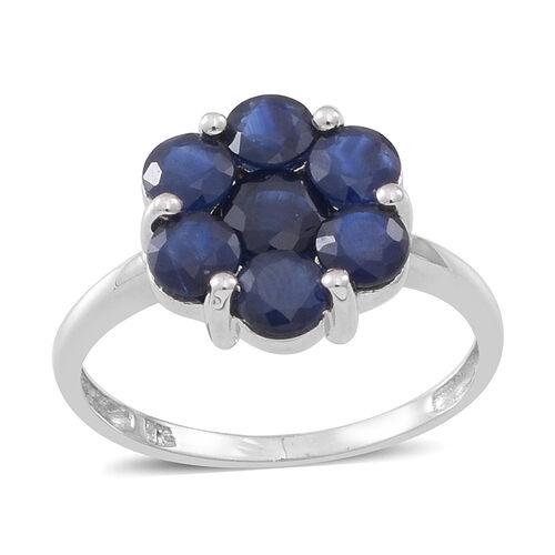 9K W Gold Kanchanaburi Blue Sapphire (Rnd) 7 Stone Floral Ring  2.500 Ct.