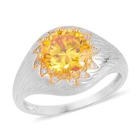 ELANZA AAA Simulated Citrine and Simulated White Diamond Ring in Rhodium Plated Sterling Silver