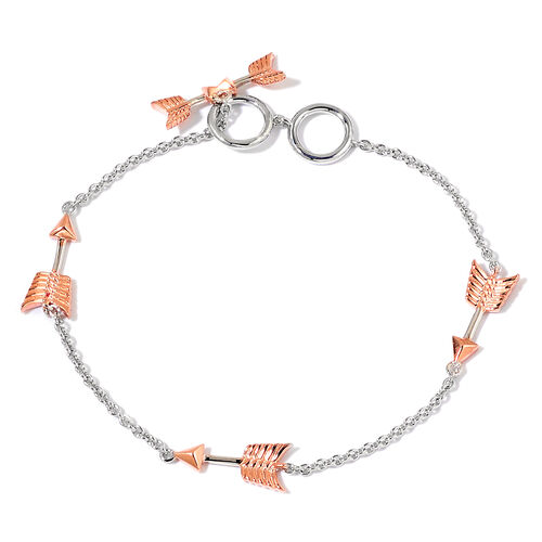 LucyQ Arrow Station Bracelet (Size 7.5) in Rose Gold and Rhodium Plated Sterling Silver 4.62 Gms.