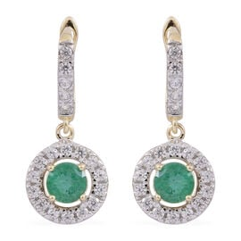 Limited Edition - 9K Yellow Gold AA Kagem Zambian Emerald (Rnd), White Zircon Earrings (with Clasp) 1.750 Ct.