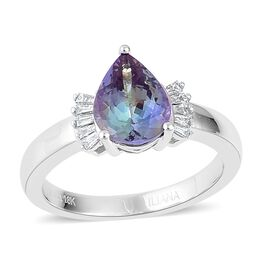 ILIANA 18K W Gold AAA Green Tanzanite (Pear 2.06 Ct), Diamond (SI/G-H) Ring 2.210 Ct.