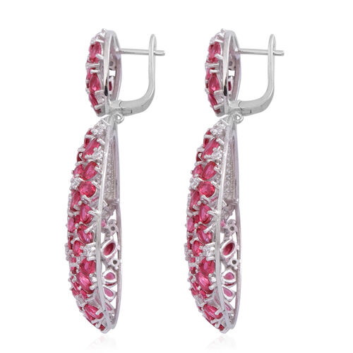 Red Carpet Collection- ELANZA AAA Simulated Ruby (Ovl), Simulated White Diamond Floral Earrings in Rhodium Plated Sterling Silver