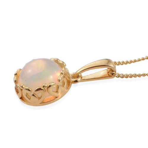 Ethiopian Welo Opal (Rnd) Solitaire Pendant with Chain in 14K Gold Overlay Sterling Silver 1.500 Ct.