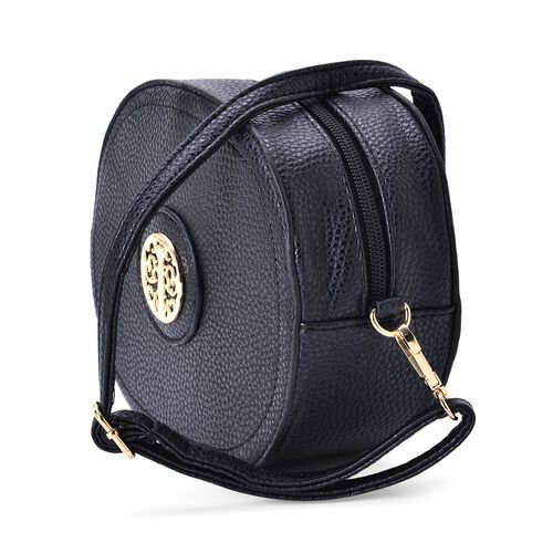Black Colour Small Size Crossbody Bag with Adjustable and Removable Shoulder Strap (Size 19x16.5x7 Cm)