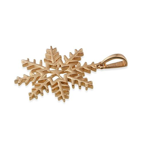 14K Gold Overlay Sterling Silver Snowflake Pendant, Silver wt 5.00 Gms.