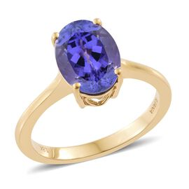 ILIANA 18K Yellow Gold AAA Tanzanite (Ovl) Solitaire Ring 3.500 Ct.