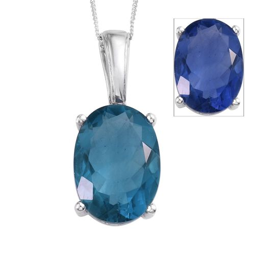 Colour Change Fluorite (Ovl) Pendant With Chain in Platinum Overlay Sterling Silver 14.000 Ct.