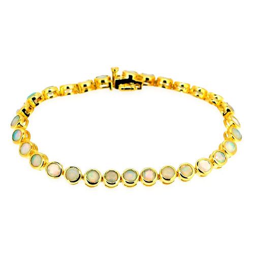 Ethiopian Welo Opal (Rnd) Bracelet in Yellow Gold Overlay Sterling Silver (Size 7.5) 6.250 Ct.