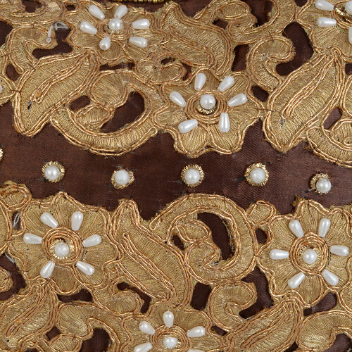 Golden Colour Floral and Leaves Pattern Chocolate Colour Satin Potli Bag with Acrylic Pearl Beads (Size 24x16 Cm)