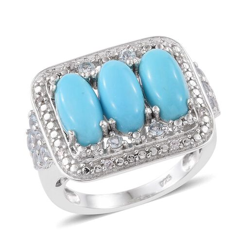 Arizona Sleeping Beauty Turquoise (Ovl), Sky Blue Topaz and Natural Cambodian Zircon Ring in Platinum Overlay Sterling Silver 4.250 Ct.