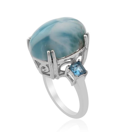 Larimar (Ovl 14.75 Ct) Electric Swiss Blue Topaz Ring in Platinum Overlay Sterling Silver  15.750 Ct.