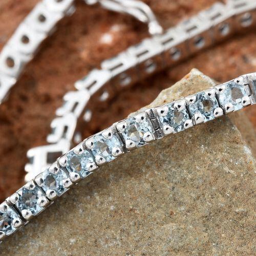 Espirito Santo Aquamarine Tennis Bracelet in Platinum Plated Silver 5.50 Ct (7.5 Inch) 10.09 Gms