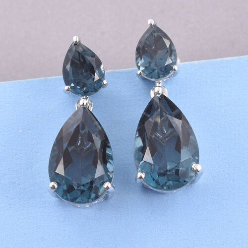 Indicolite Quartz (Pear) Tear Drop Earrings (with Push Back) in Platinum Overlay Sterling Silver 13.500 Ct.